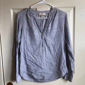 Michael Kors striped collarless blouse